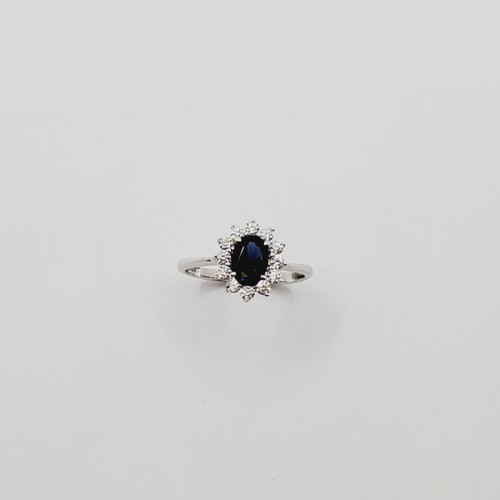 18k White Gold Synthetic Oval Stone and CZ Stone Ring