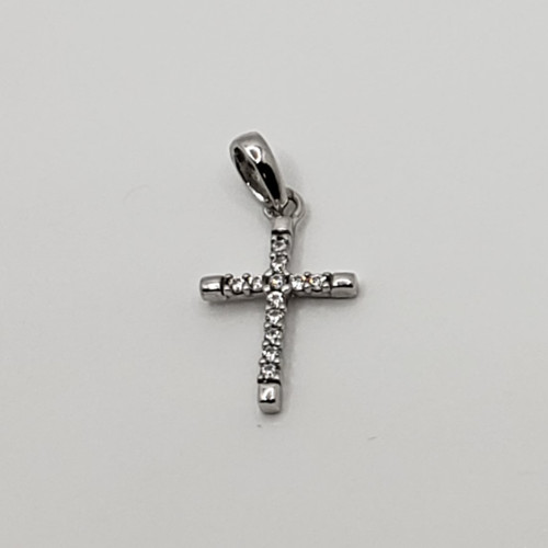 18k White Gold Tab Ends Cross with CZ
