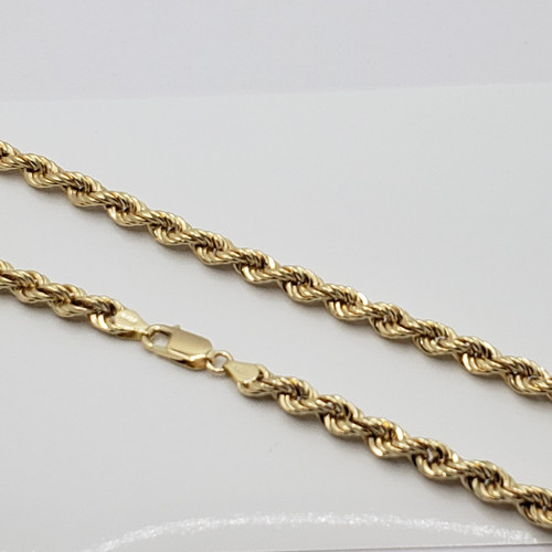 18k Yellow Gold Hollow Rope Chain
