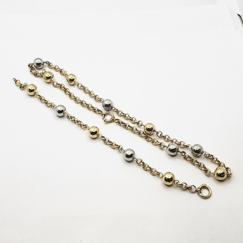 18k Two Tone Gold Ball Rolo Necklace and Bracelet