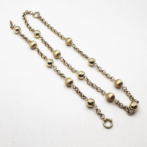 18k Yellow Gold Ball Rolo Necklace and Bracelet