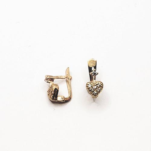 19.2k Portuguese Gold Full Heart CZ Earrings
