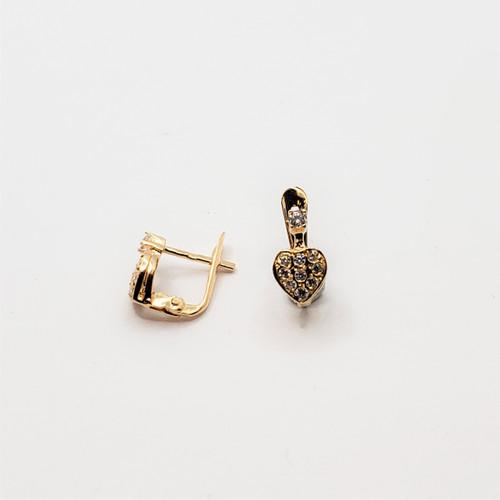 19.2k Portuguese Gold Lighter Full Heart CZ Earrings
