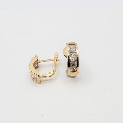 19.2k Portuguese Gold Square CZ Half Hoop Earrings