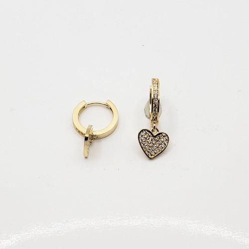 18k Yellow  Gold CZ Huggie with Heart Earrings
