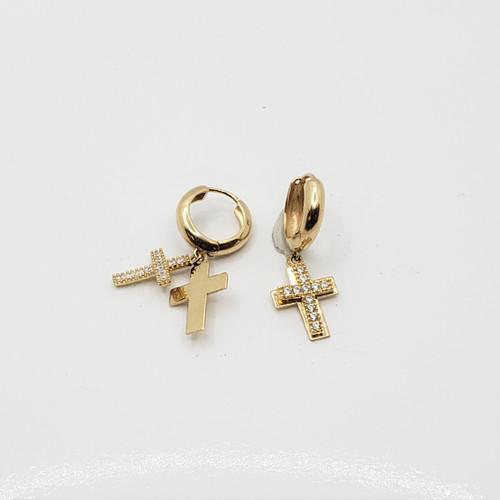 18k Yellow  Gold CZ Huggie with Cross Earrings