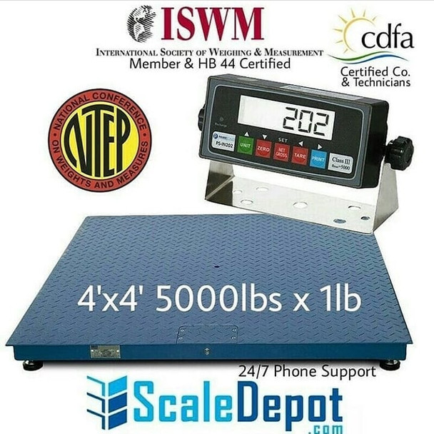"5000 lbs x 1lb 4'x4' (48"" x 48"") NTEP Certified Legal for Trade Pallet Floor Scale Free Shipping"