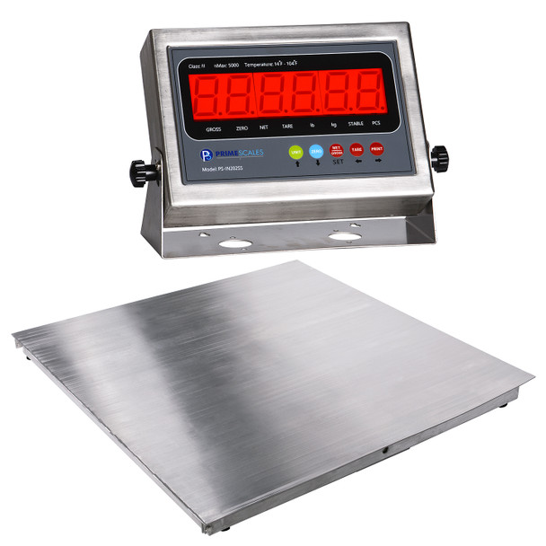 PS-5000SSF Stainless Steel - Fixed Top Floor Scale + PS-IN202SS Package