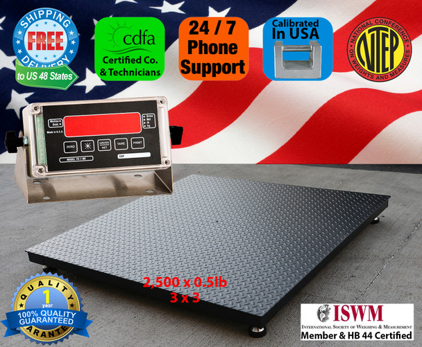 Made in USA 3' x 3' 2500 x 0.5lb NTEP Approved Pallet Floor Scale with Free Shipping
