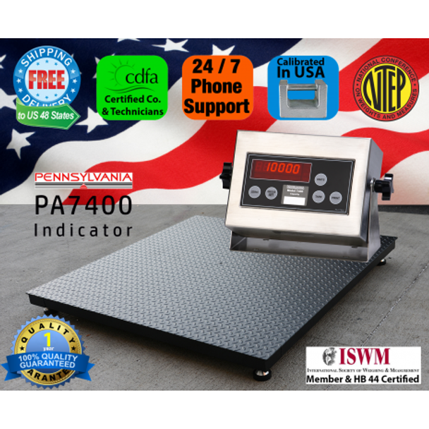 NTEP Certified US Made Pallet / Floor Scale with Pennsylvania PA7400 Indicator