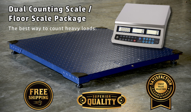 PS-10KF 10,000 x 1 lb Pallet Floor Scale with PS-C60KDN Dual Counting Scale Package