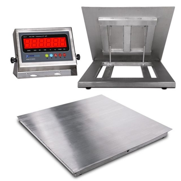 """Prime 5000 Lbs x 1 lb 4' x 4' ( 48"""" x 48"""" ) IP67 Flip Top Stainless Steel Platform Pallet Floor Scale  with Stainless steel Indicator with FREE SHIPPING"""