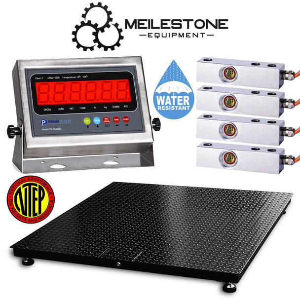 """NTEP Certified Legal for Trade 10000 lbs x 2 lb 2' x 2' (24"""" x 24"""")  Water Resistant Outdoor Pallet Floor Scale"""