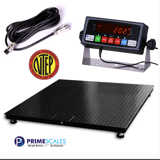 2500lbs x 0.5lbs 2'x2' NTEP Certified Legal For Trade Floor / Pallet Scale Free Shipping