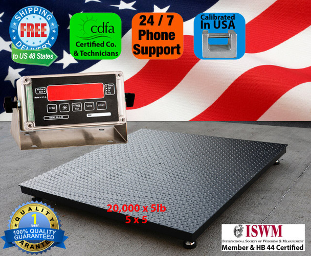 Made in USA 4' x 6' 20000 x 5lb NTEP Approved Pallet Floor Scale