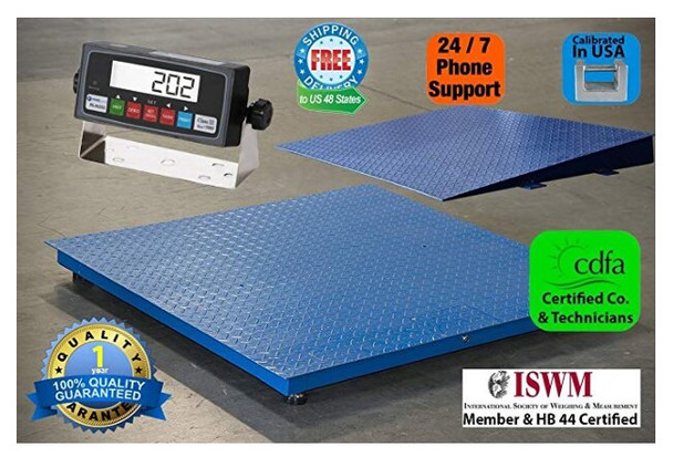 "Four high quality alloy load cells ensures accuracy in full capacity range. Standard 4' x 5' (48"" x 60"") size. SAGA NEW 7500LB*1LB 4'X4' 48"" DIGITAL PALLET SHIPPING PLATFORM FLOOR SCALE W/IND, Brand new and heavy duty pallet scale Feature Durable heavy duty Full Size 48""x48"" industry pallet scale Weighing Modes: KG and LB Capacity/Accuracy: 7500lb/1lb Power:110+/-11V 60 HZ or Built-in Rechargeable Zero position auto tracking SAGA NEW 7500LB*1LB 4'X4' 48"" DIGITAL PALLET SHIPPING PLATFORM FLOOR SCALE W/IND, Brand new and heavy duty pallet scale Overview Entry level floor scale, suitable for warehouse stock management, shipping, material handling, etc.Durable deck plate with anti-rust paint.Adjustable ball in cup level feet.Indicator with lb and kg weighing modes, build in rechargeable battery.The Color is deck plate, coated with anti-rust paint. 4 alloy foot stands included. The power is 110v AC, and build in rechargeable battery, Indicator can work without external power.Measure the number of parts directly.Zero out the scale, measure net weight in container"