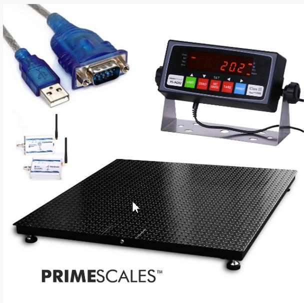 PS-10KFWL Series 10,000 x 1 lb Wireless Platform Pallet Floor Scale with RF Wireless Indicator