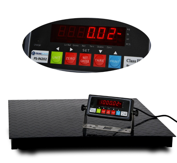 PS-1KF2424HD is a high definition floor scale which will provide both high capacity (1000lbs) and high accuracy (0.02lb).  It can be widely used in manufacturing, quality control, winery, landscaping, agriculture etc. Thanks to Prime Scales' advanced load cell technology, you don't have to trade in capacity for high accuracy any more, or vise versa. The full range of this powerful scale gives you a 50,000 resolution.  Specifications:  Capacity: 1000lbs (500kg)  Increment: 0.02lb (0.01kg or 10g)  Minimum Weight: 0.2lb (0.1kg)  lb / kg / oz convertible  4 High Definition Load Cells Connected to Signal-trim Junction Box  Anti-slipper Feet  Quick disconnect cable (15')  PS-IN202 Legal For Trade indicator  Powder Coated Scale Surface  FREE SHIPPING!!