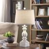 """Crestview Antiqued White Resin Baluster Lamp 25"""""""