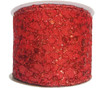"Ribbon Web Glitter Leaf 4"" x 10YD Red"
