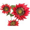 "Sunflower Stem x 3 Red 26.5"" Set of 6"