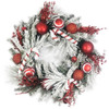 """Flocked Artificial Mixed Greens Wreath with Red and White Ornaments 24"""""""