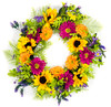 """Purple and Orange Artificial Daisy Wreath on Natural Twig Base 24"""""""