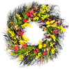 Purple/Yellow/Pink Artificial Wreath on Natural Twig Base 24""