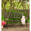 Tree of Life Metal Garden Bench Black