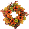Pumpkin Sunflower Mixed Leaf Wreath 24""