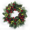 """Artificial Wreath Red Ornament Green Berry 24"""""""