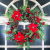"Poinsettia Pine Cone Berry Artificial Wreath 24"""