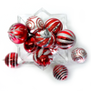 "Shatterproof Ornament Set Red Silver Champagne 3.14"" Set of 12"