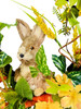 """Rabbit with Carrots and Wildflower Wreath on Natural Twig Base 18"""""""