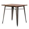 Metropolis KD Metal Dining Table Wood Top, Gunmetal