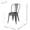 Metropolis KD PU Metal Side Chair, Vintage Black