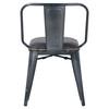 Brian KD PU Metal Side Chair, Vintage Black