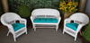 Outdoor Solid Teal 3 Piece Cushion Set