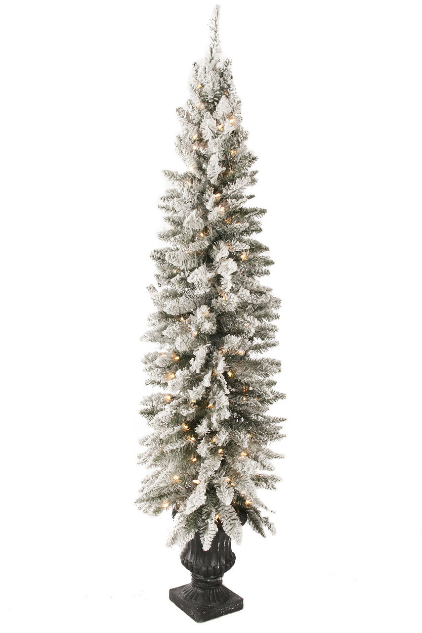 promo code 03dd1 2808d 6' Flocked Potted Prelit Artificial Christmas Tree