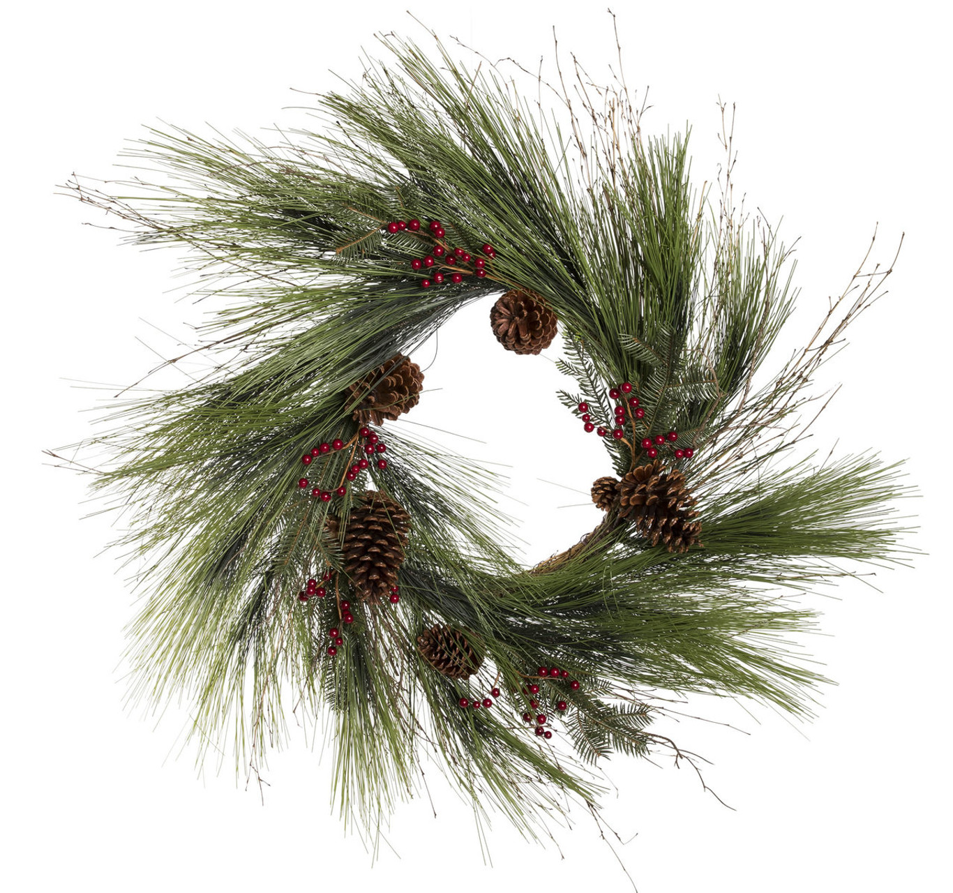 30 Forevertree Sugar Pine Wreath With Hemlock Noble Red Berries And Cones Trees N Trends Home Fashion More