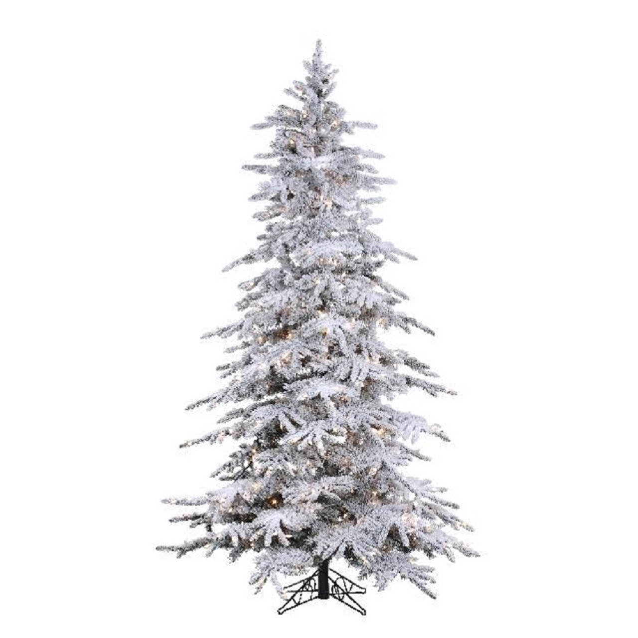 7 5 Flocked Balsam Pine Prelit Artificial Christmas Tree With Staylit Trees N Trends Home Fashion More