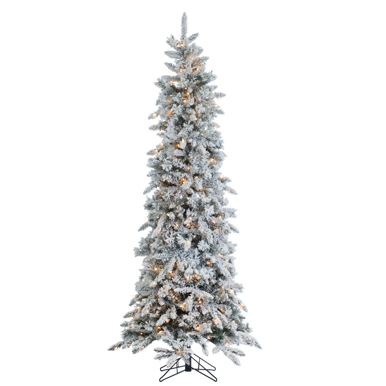 new product 80fa4 31b66 7.5' Prelit Narrow Flocked Pencil Pine Artificial Christmas Tree