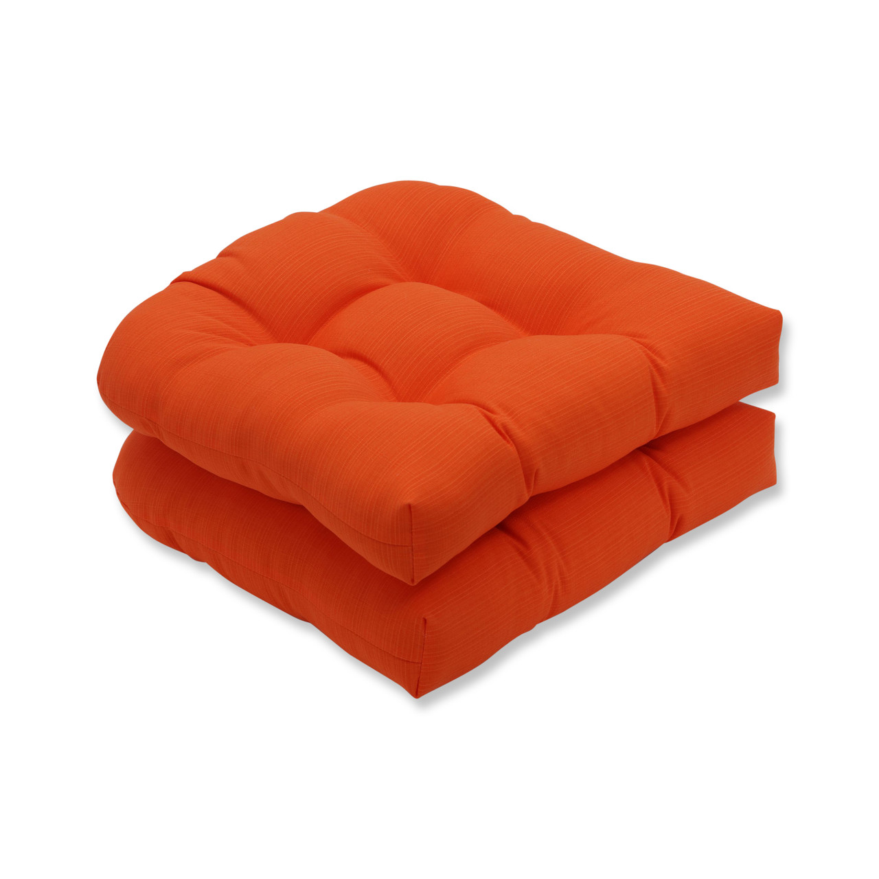 Set of 2 Orange Pillow Perfect Indoor//Outdoor Primro Wicker Seat Cushion