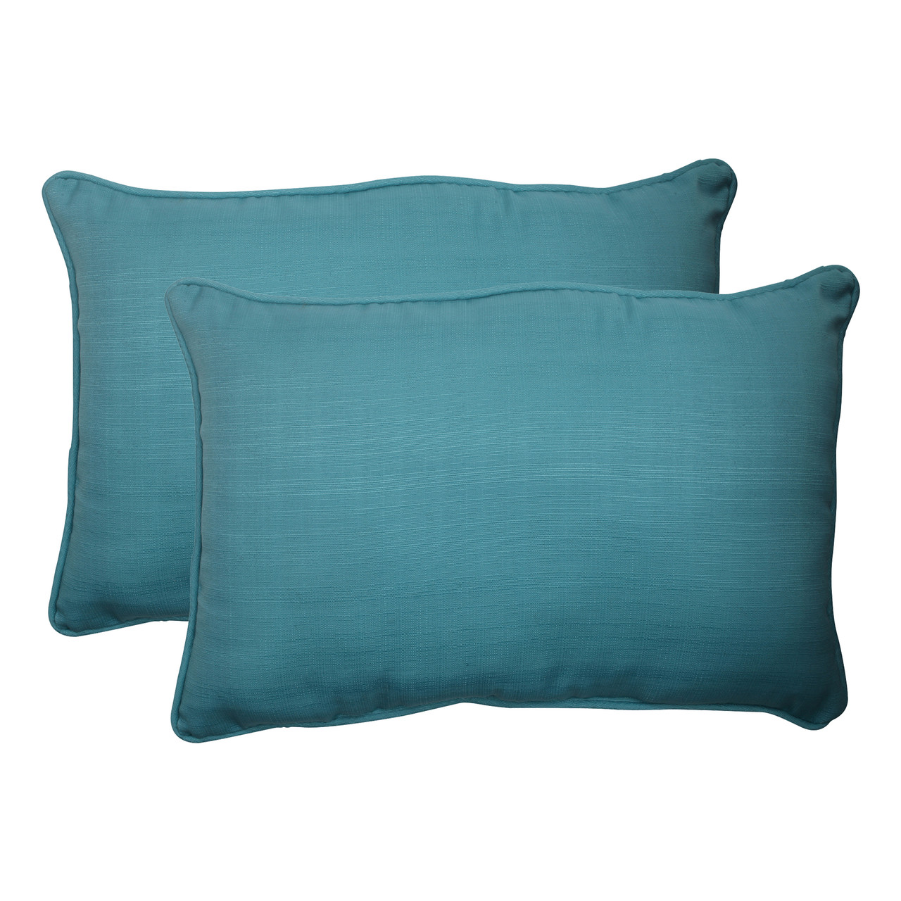 Turquoise Pillow Perfect Outdoor Forsyth Corded Oversized Rectangular Throw Pillow Set of 2 507019