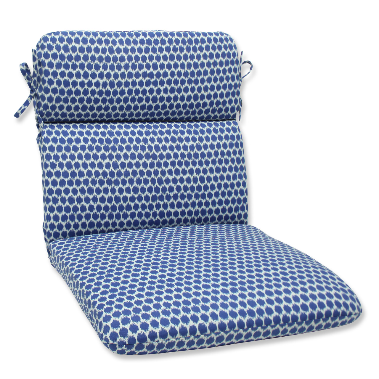 Pillow Perfect Seeing Spots Navy Rounded Corners Chair Cushion