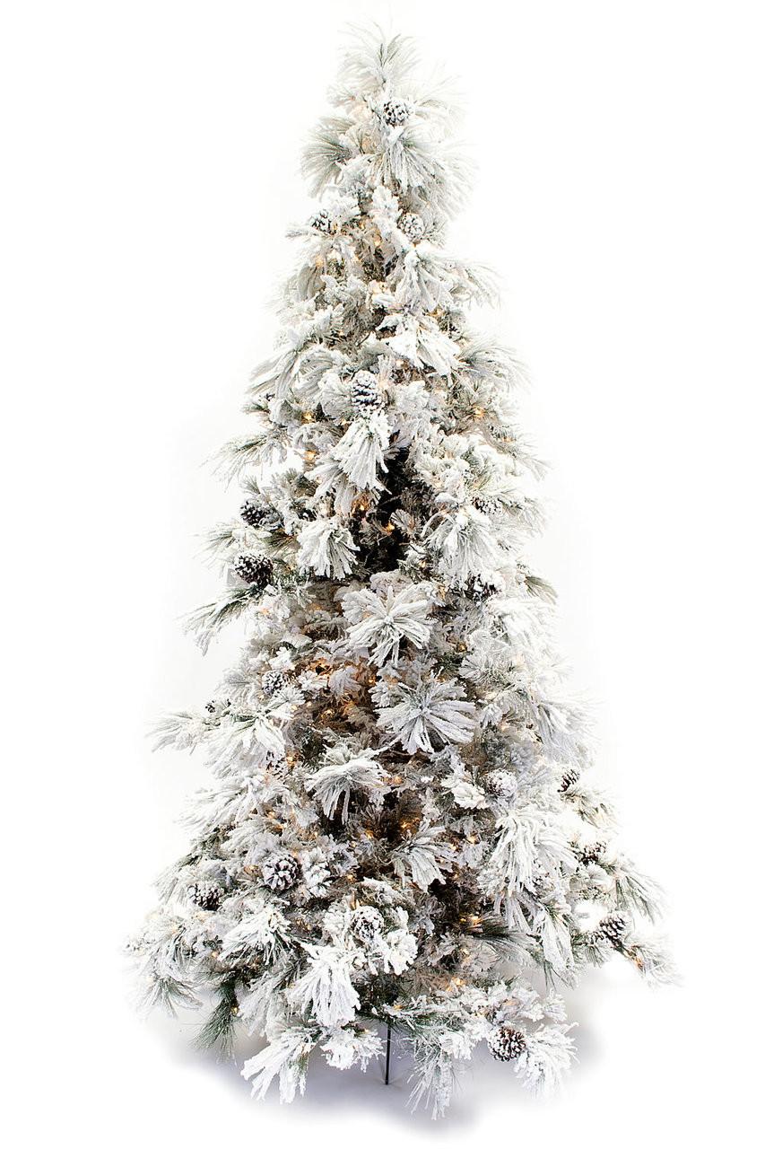 wholesale dealer 00264 751ee 12' Flocked Pine Long Needle Prelit Artificial Christmas Tree