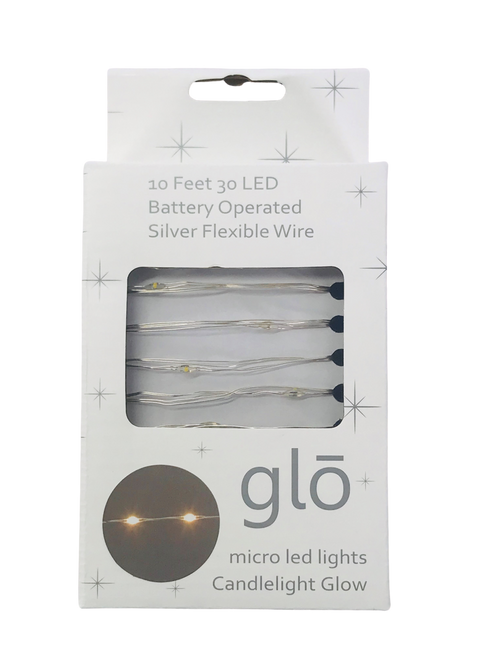 10' 30 LED Micro Light Silver Wire w Battery Box Candlelight Glow w Timer