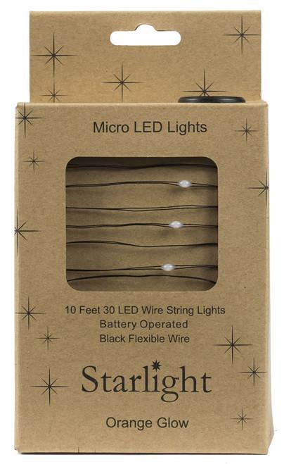 10' Black Wire Orange 30LED Starlight w Battery Box