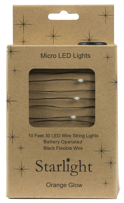10' Black Wire Orange 30LED Starlight w Battery Box