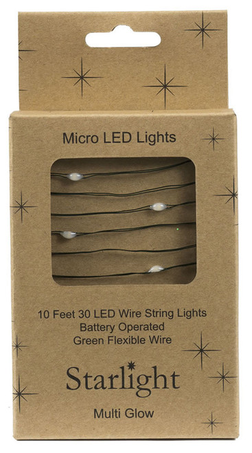 10' Green Wire 30 LED Multi Starlight w Battery Box